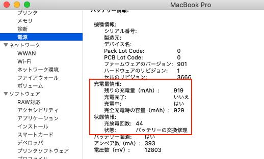 Macのバッテリー状況